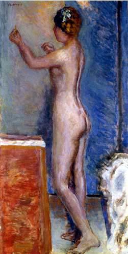 Pierre Bonnard - Akt vor blauen Hintergrund