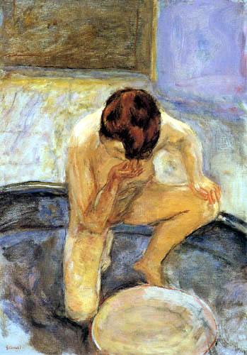 Pierre Bonnard - Akt am Bottich, Kauernde Frau