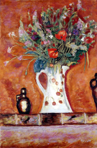 Pierre Bonnard - Fleurs sur une cheminée