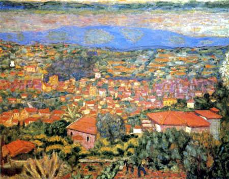 Pierre Bonnard - Landschaft von Cannet, Die roten Dächer