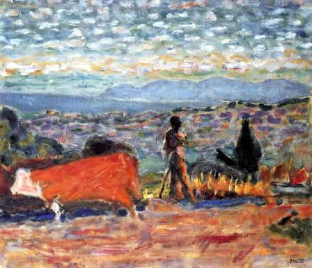 Pierre Bonnard - Le boeuf rouge, laboureur