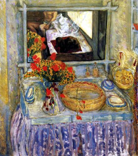 Pierre Bonnard - Toilettentisch mit rot-gelben Blumenstrauß