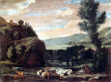 Pietro Paolo Bonzi ( Il Gobbo dei Carracci o dei Frutti) - Landschaft mit Schafherde und Hirten