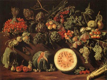 Pietro Paolo Bonzi ( Il Gobbo dei Carracci o dei Frutti) - Stilleben mit Obst und Feldfrüchten