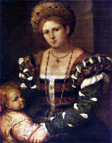 Paris Bordone (Bordon) - Portrait of a Lady with a Boy