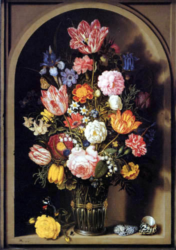 Ambrosius Bosschaert - Flowers in a Glass Vase