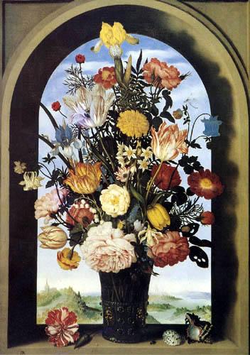 Ambrosius Bosschaert - Flowers in a Glass Vase