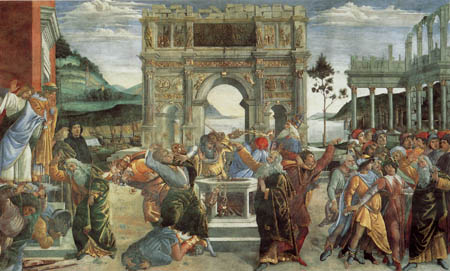Sandro Botticelli - Rebellion against the laws of Moses