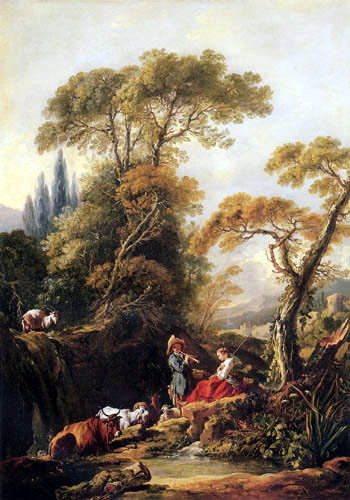François Boucher - Rest at the fountain