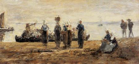 Eugene Boudin - The ferry of Plougastel
