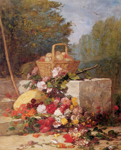 Eugene Boudin - Flowers and fruits in a garden
