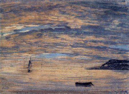 Eugene Boudin - Sunset, Etretat