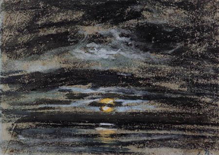 Eugene Boudin - Cloudy sky with the moon