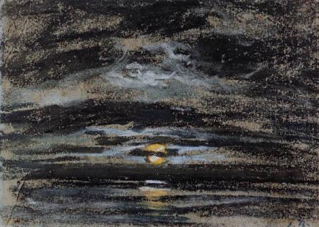 Eugene Boudin - Bewölkter Himmel mit Mond