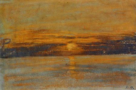 Eugene Boudin - Sonnenuntergang über dem Meer