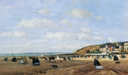 Eugene Boudin - On the beach of Trouville