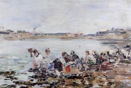 Eugene Boudin - Laundresses on the beach