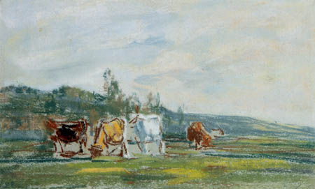 Eugene Boudin - Kühe auf einer Wiese