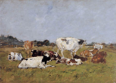 Eugene Boudin - Cows on the pasture