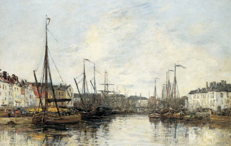 Eugene Boudin - Merchant Ships in the Port of Brussels