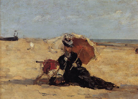 Eugene Boudin - Woman at the beach of Berck