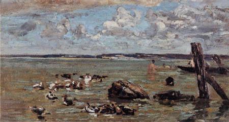 Eugene Boudin - Felsen, Boote und Badende bei Honfleur