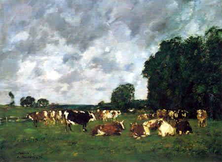 Eugene Boudin - Steers in a pasture