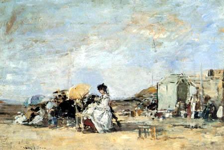 Eugene Boudin - Dame in Weiß am Strand von Trouville