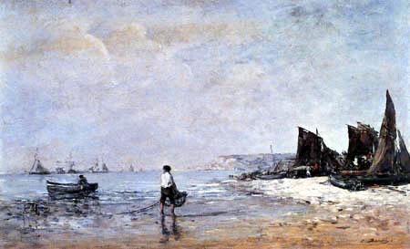 Eugene Boudin - Fishermen at low tide