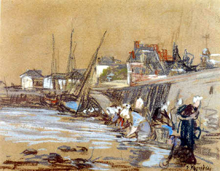 Eugene Boudin - Washer Woman in the Port of Honfleur