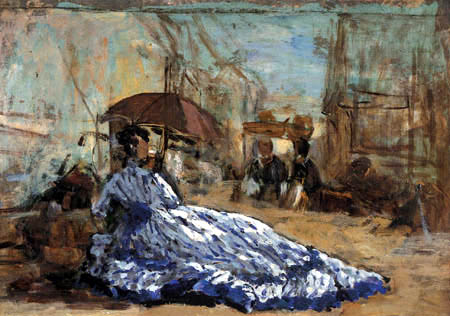 Eugene Boudin - Woman in blue dress under a parasol
