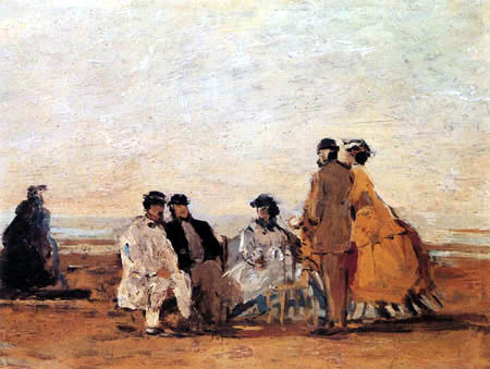 Eugene Boudin - People on the Coast near Trouville