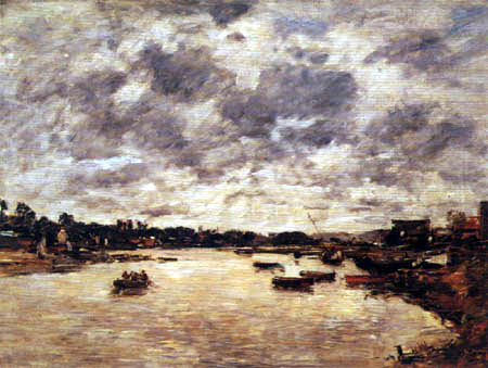 Eugene Boudin - Banks of the Touques