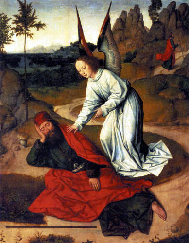Dieric (Dirk) Bouts - Elijah is visited by an angel