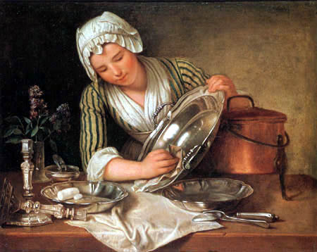 André Bouys - A maid cleaning the silver