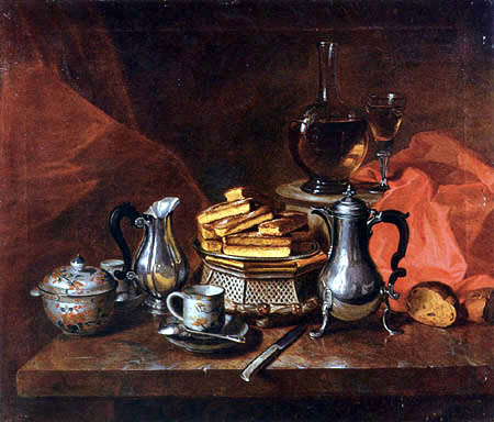 André Bouys - Still Life with Silver and Biscuits