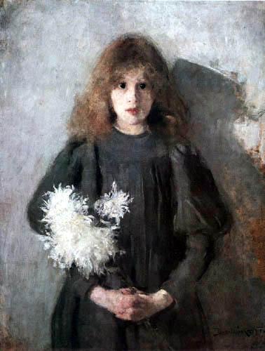 Olga Boznanska - Girl with Chrysanthemums