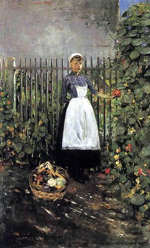 Olga Boznanska - Girl with a basket in the garden