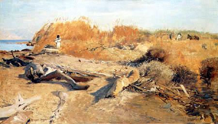 Eugen Bracht - Schilfdickicht bei Ain-Dijddy am Toten Meer