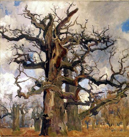 Eugen Bracht - Oak with lightning