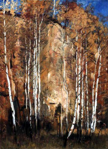 Eugen Bracht - Birches in the quarry near Dresden