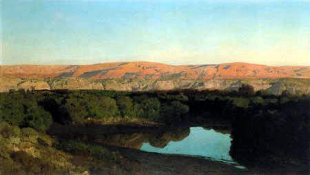 Eugen Bracht - The Mountains of Moab, View from the Jordan River