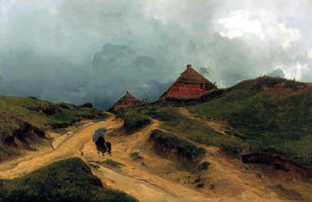 Eugen Bracht - Dorfweg in Göhren auf Gut Mönchgut, Insel Rügen