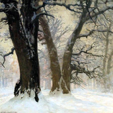 Eugen Bracht - Chênes dans la neige