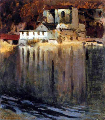 Eugen Bracht - Gypsum Mill at a Pond