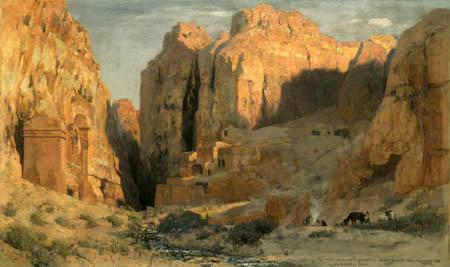 Eugen Bracht - In der Gräberschlucht der Felsenstadt Petra, Jordanien
