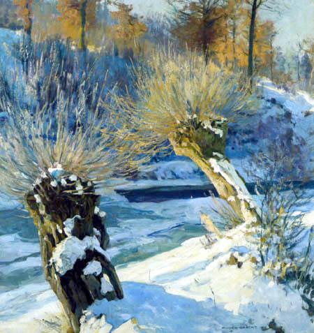 Eugen Bracht - Kopfweiden im Schnee