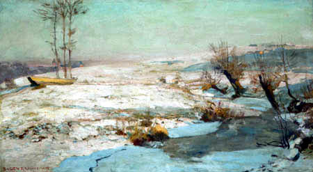 Eugen Bracht - A winter morning at Rochlitz