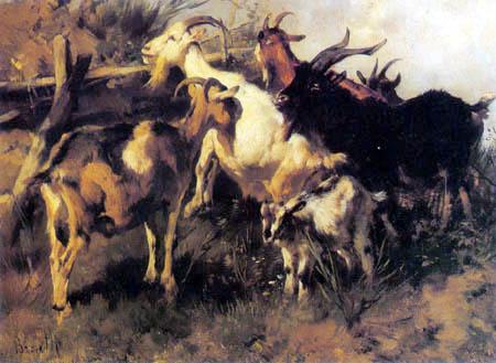 Anton Braith - Goats with kid