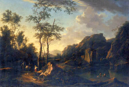 Johann Christian Brand - A wooded river landscape with travellers